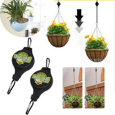Retractable Pulley Hanging Basket Pull Down Hanger Garden Hook Easy Reach