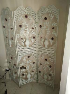 Ornamental White Painted Wrought Iron Screen 3 Panel Bedroom Divider