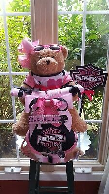 Harley Davidson Theme Baby Girl Motorcycle Diaper Cake -Made To Order