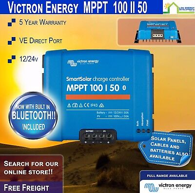 Victron SmartSolar MPPT Charge Controller 100/50 12/24V Smart 5 Yr Wty