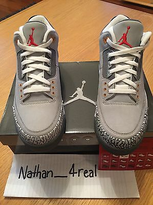 Nike Air Jordan 3 lll Cool Grey DS Size 10 Very Rare
