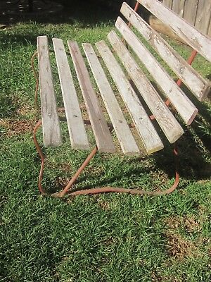 Vintage outdoor garden  metal and timber bench seat