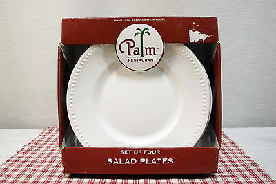"Set of Four Palm Restaurant TPA1 8 5/8"" Luncheon Plates Beaded Trim, NEW in Box."