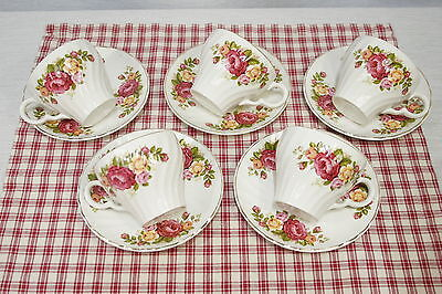 LOT 5 Sets Cups and Saucers Wood & Sons England Cottage Rose. Gold trim Mint