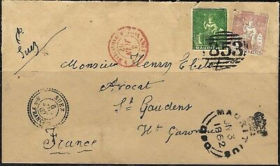 759 - Mauritius - 1862 - Cover To Paris - Forgery - Fake - Faux