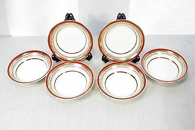 """LOT of 6 Myott & Sons The Crowning Burgundy  5"""" Fruit Bowls, Nappies  EXC + !"""
