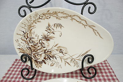A.J.Wilkinson Clarice Cliff Vitrified Harvest Brown Oval / Egg Shaped Platter(s)