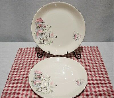 LOT of 2 Alfred Meakin Montmartre Dinner Plates c.1950's PARIS Cafe Scenes