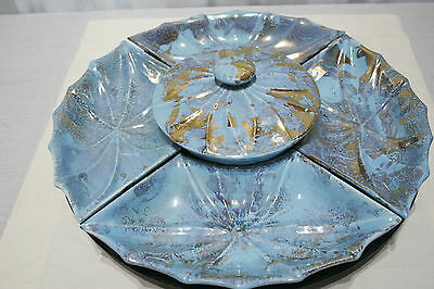 Vintage mid-century Lazy Susan w/ turntable turquoise w/ gold, MADE in USA  MINT
