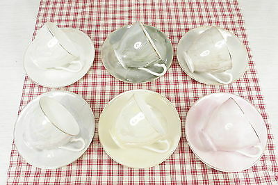 Six Sets Made in Japan Vintage Lusterware Cups and Saucers. Mixed Colours.