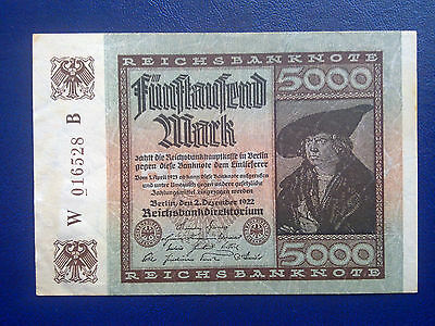 Germany - 5000 Mark 1922 -  Extremely Fine