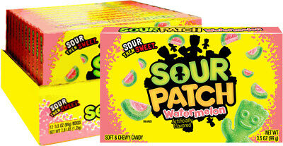 904222 BOX OF 12 x 99g THEATRE BOXES OF SOUR PATCH KIDS WATERMELON GUMMY CANDY!