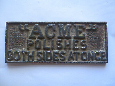 ACME POLISH CAST IRON SIGN or PAPERWEIGHT c1920s to 1930s MELBOURNE AUSTRALIA