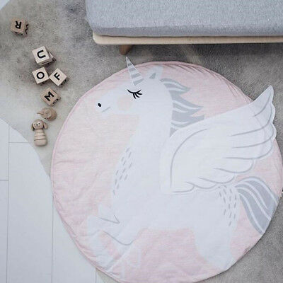 Baby Newborn Unicorn Crawling Blanket Kids Game Play Mat Padded Carpet Floor Rug