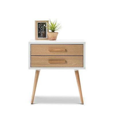 Scandinavian Bedside with 2 Drawers Nightstand Side Table WHITE Timber Wood Oak