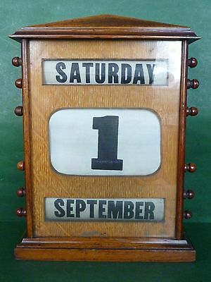 "Working Edwardian X Large Wooden Perpetual Desk Top Calendar - 12"" / 30.5cm tall"