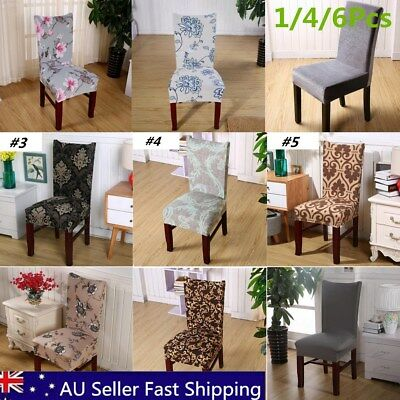 1/4/6 Pcs Washable Stretch Dining Chair Cover Removable Slipcover Dinning Cover