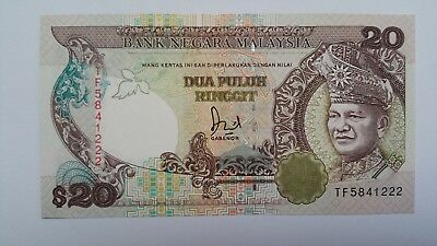MALAYSIA 20 Ringgit paper banknote 1989 P.30 UNC Strong colours