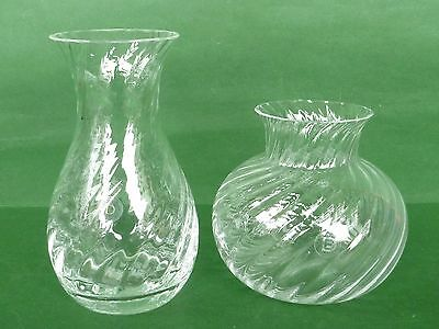 Dartington Frank Thrower Crystal Glass - 2 Ripple Vases: Posy 12cm & Roman 17cm