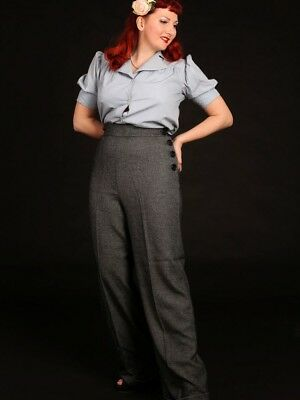 NWT Heyday ! Vintage 1940s Style Swing Pants  HIgh Waisted wideTrousers Grey 12