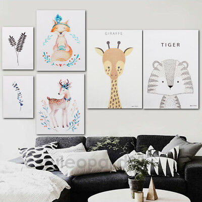 Modern Nordic Minimalist Animal Canvas Poster Print Wall Art Picture Home Decor