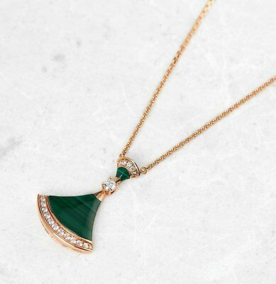 Bulgari 18K Rose Gold Malachite & Diamond Divas' Dream Necklace - J427
