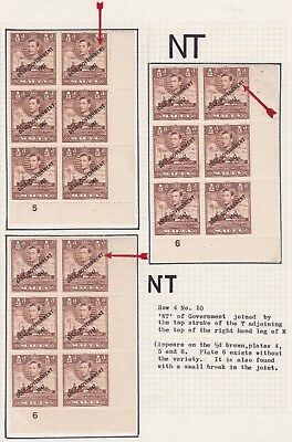 1948 Malta ½d ERROR VARIETY - STUDY- JOINED NT in Government + Plates SG235a