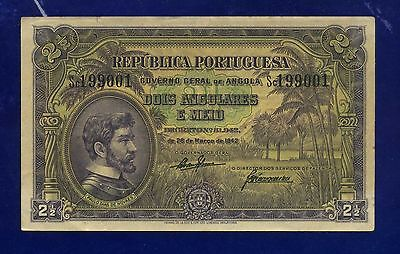 Angola Banknotes 2 1/2 Angolares 1942 P69 X-FINE RARE TO FIND THIS GRADE  CL-1
