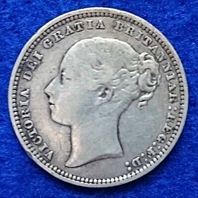 1877 Great Britain QV Queen Victoria 1/- Shilling 3rdYoung Head .925 Silver Coin