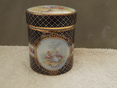 Lidded China Jar With Courting Couple And Floral Scenes  English Backstamp