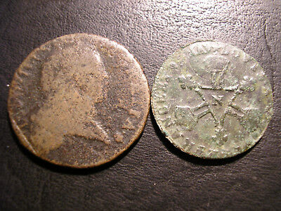 ++ FRENCH COLONIES LOT of 2 OLD COINS for CANADA & LOUISIANA ++