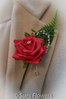 Red & Diamante Button Hole Corsage Wedding Flowers