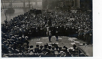 """Old postcard real photograph """"One eyed Scottie"""" Newcastle Northumberland."""