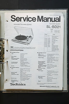 TECHNICS SL-BD21  Original Plattenspieler/Turntable Service-Manual/Schaltplan!