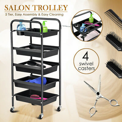5 Drawers Salon Hairdresser Trolley Storage Hair Beauty Spa Adjustable Cart