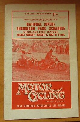 Shrubland Park Claydon Scramble Programme 3Rd August 1953  Motorcycles