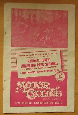 Shrubland Park Claydon Scramble Programme 2Nd August 1954  Motorcycles