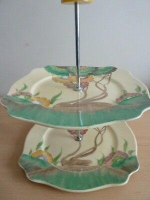 Clarice Cliff Two Tier Cake Stand - Aurea Pattern