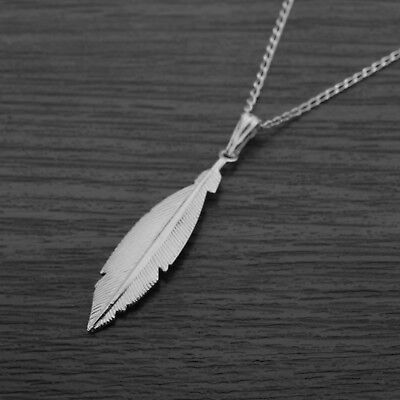 "Genuine 925 Sterling Silver Wing Feather Necklace in Gift Box 18"" Inches / 45cm"