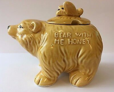 Old Ceramic Honey Pot - 'bear With Me Honey' Slogan On Side With A Bee On Lid
