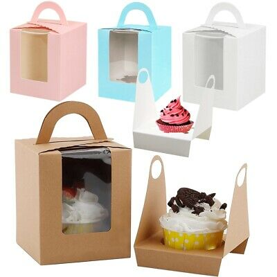 1/5/10/20X Single Cupcake / Muffin / Fairy Cake Boxes With Clear Window Gift Box