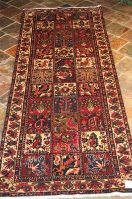 "Paneled ""garden"" Design Persian Rug Bakhtiari Persian Hall Runner Rug 317X120"