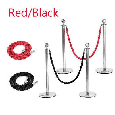 2pc Polished Steel Queue Rope Barrier Velvet Rope Stanchion Posts Stands 2 color