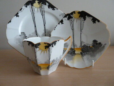 Shelley Queen Anne Shaped Trio - Sun Rise And Tall Trees Pattern