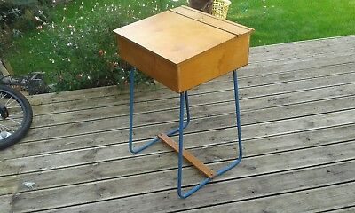 Vintage  Childs Wooden School Desk With Blue Painted Frame