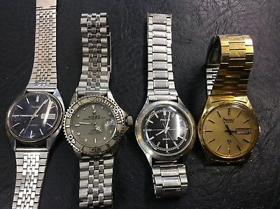 4 spares or repair broken watches all Quartz and all needing attention.joblot