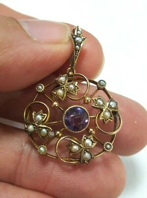 9ct Victorian Amethyst and Seed Pearl Pendant / Brooch (2928)