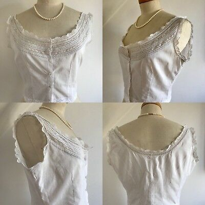 Vintage Victorian 1800s Camisole Over Corset Cover Linen Chemise French Lace 14
