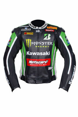Kawasaki Motorcycle Leather Jacket MOTO GP Motorbike Racing Jacket Motorradjacke