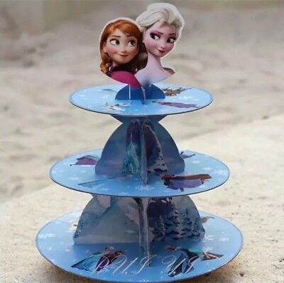 1x Disney Frozen 3-Tier Cupcake Stand. Party Supplies Cake Lolly Loot Bag Banner